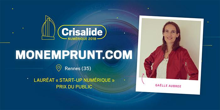 Lauréat Crisalide numérique 2018 : Monemprunt.com